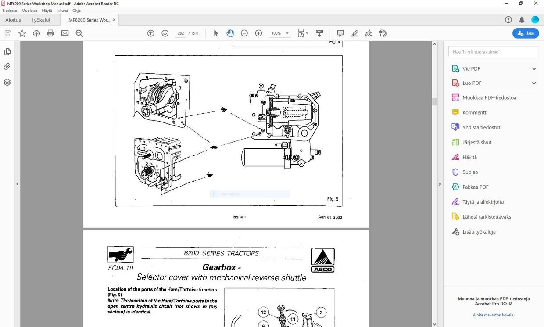 Massey Ferguson - 6235 6245 6255 6260 6265 6270 6280 6290  - service manual  -  english