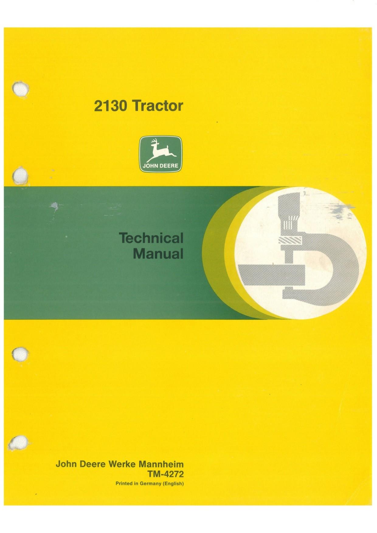John Deere 2130 technical manual  -  TM4272  -  english