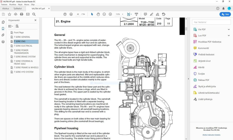 Valtra  M120 M130 M150 T120 T130 T140 T160 T170 T180 T190 - service manual  -  english