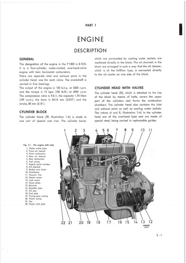 Volvo P1800 1800S P1800S 1800E service manual +  parts manual