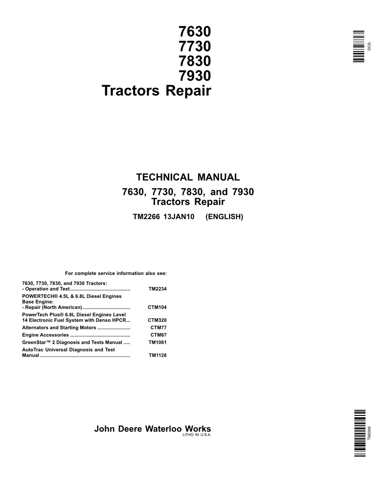 John Deere 7630 7730 7830 7930 - technical manual - TM2266 - 1100 pages - english
