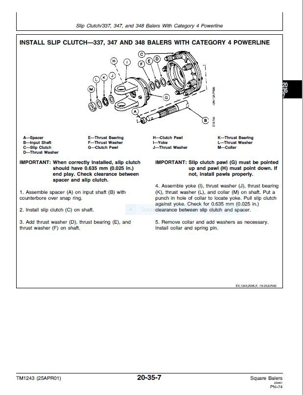 John Deere 327 328 336 337 338 346 347 348 466 467 468 square balers -  technical manual  -  TM1243
