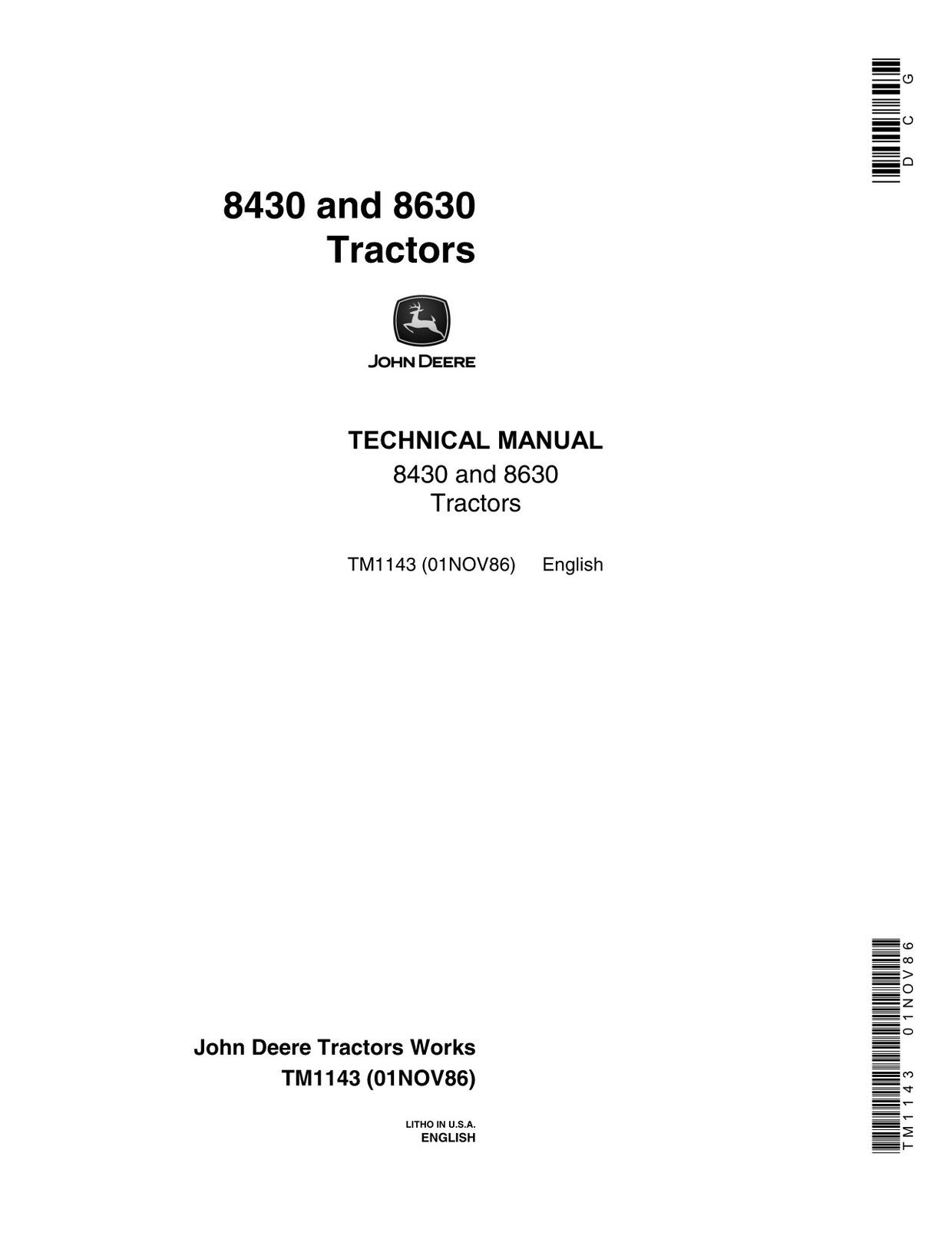 John Deere 8430 8630 technical manual TM1143  -  english