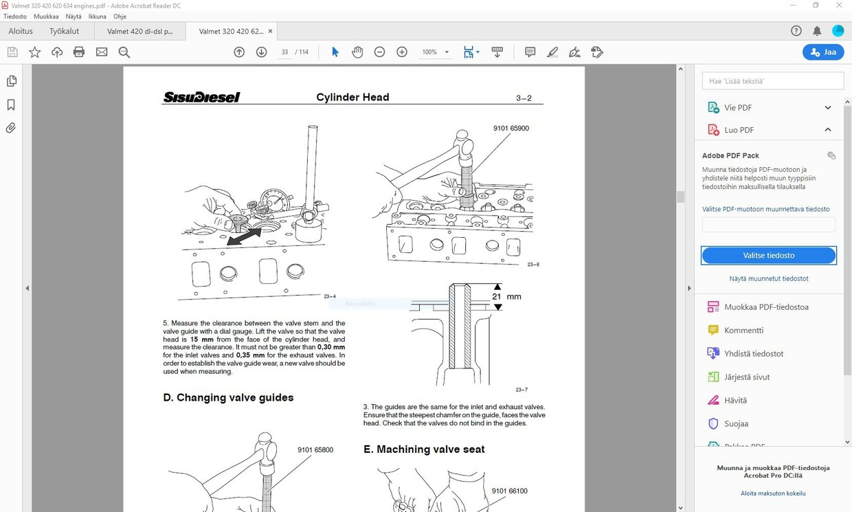 Valmet Sisudiesel 320 420 620 634 engines service manual