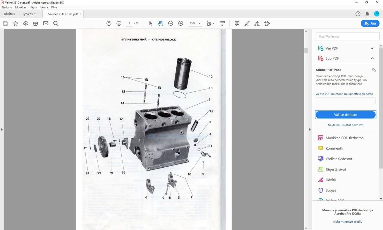 Valmet 361D varaosakirja (räjäytyskuvat)