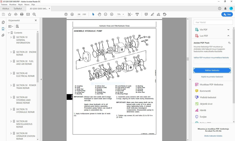 John Deere  5200 5300 5400 technical manual  - TM1520  -  english