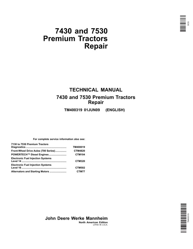 John Deere 7430 7530 Premium tractors - technical manual - TM400319 - 1054 pages - english
