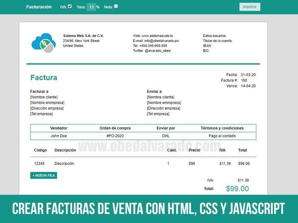 Crear facturas de venta con HTML, CSS y JavaScript