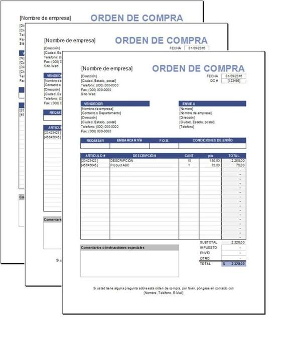 Plantilla de Orden de Compras Excel
