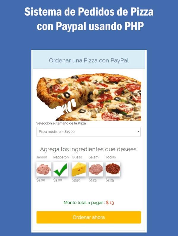 Sistema de Pedidos de Pizza con Paypal usando PHP