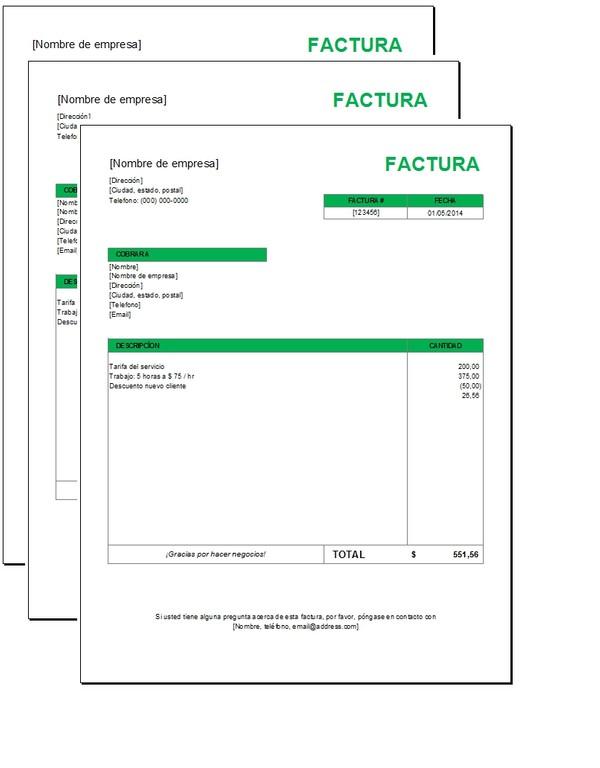 Factura básica con Excel