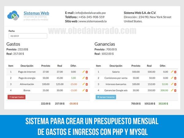 Sistema para crear un presupuesto mensual de gastos e ingresos con PHP y MySQL
