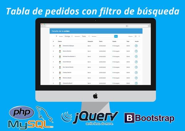 Tabla de pedidos con filtro de búsqueda desarrollada con PHP, MySQL y Bootstrap