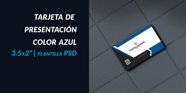Tarjeta de presentación color azul PSD
