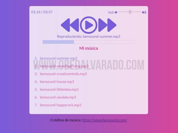 Crea un reproductor de música con JavaScript, HTML5 y CSS