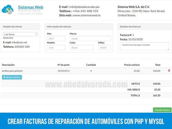Crear facturas de reparación de automóviles con PHP y MySQL