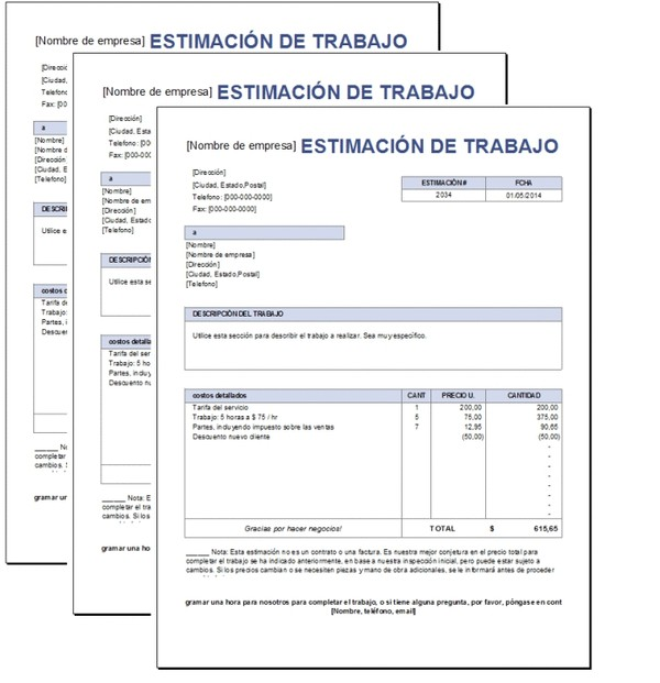 Presupuesto de trabajo Excel