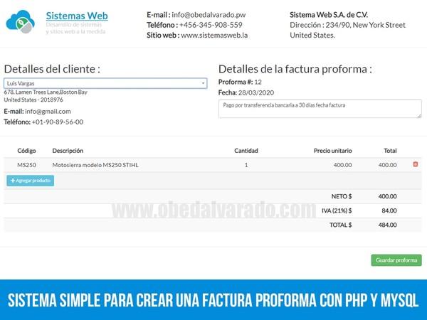 Sistema simple para crear una factura proforma con PHP y MySQL