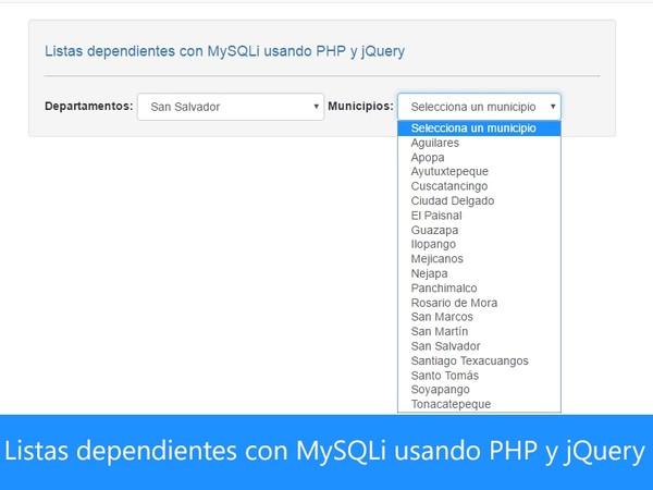 Listas dependientes con MySQLi usando PHP y jQuery