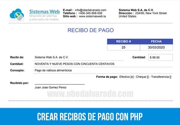Crear recibos de pago con PHP