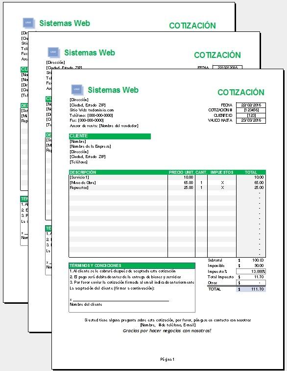 Plantilla de cotización Excel