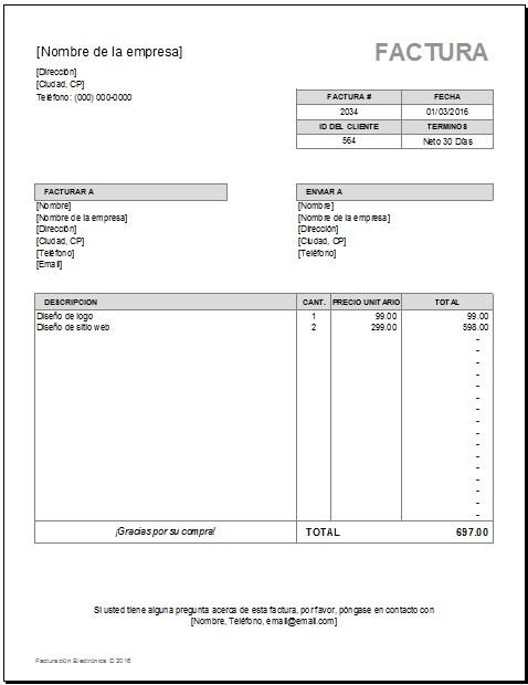 Plantilla de Facturación Excel