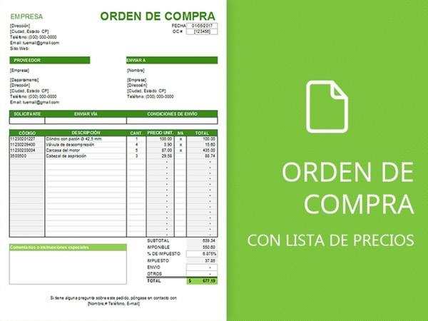 Plantilla de orden de compra con lista de precios