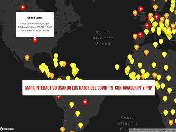 Crea un mapa interactivo usando los datos del covid-19 con JavaScript y PHP