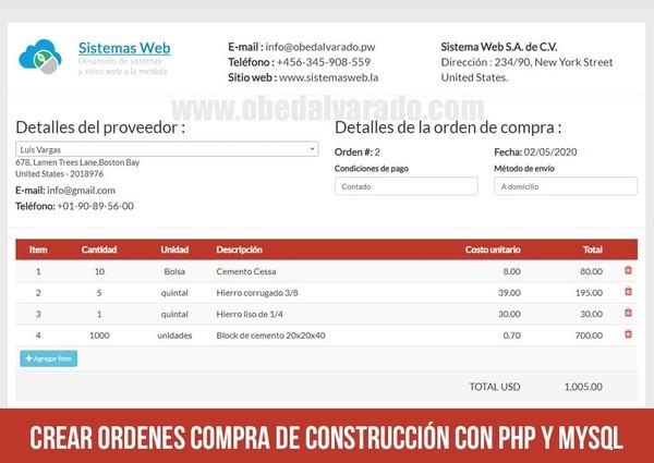 Crear ordenes compra de construcción con PHP y MySQL
