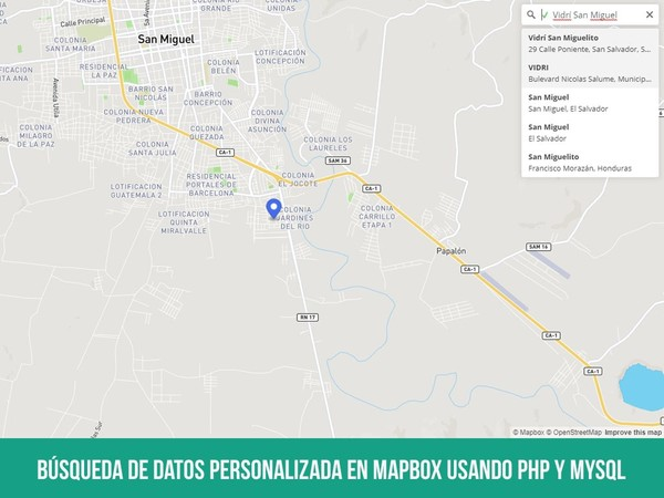 Búsqueda de datos personalizada en Mapbox usando PHP y MySQL