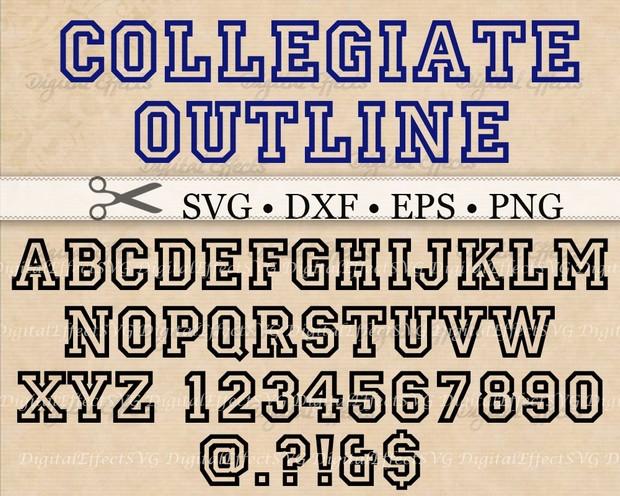 COLLEGIATE OUTLINE FONT SVG