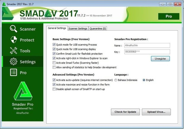 Original Smadav Pro License for Personal Computer, Office and Internet Cafe