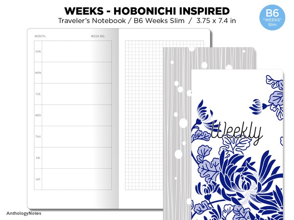 B6 WEEKS Slim Weekly Horizontal Hobonichi Weeks Inspired Layout GRID