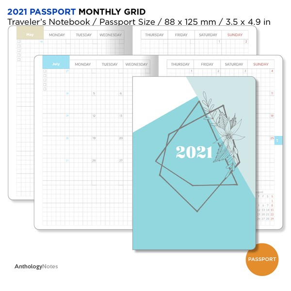 2021 PASSPORT Monthly Diary GRID Traveler's Notebook Printable Insert Mo2P Minimalist
