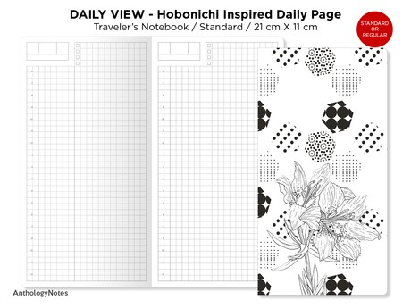 Daily View - Standard Traveler's Notebook Printable Insert - Hobonichi Inspired Do1P - Day on a Page