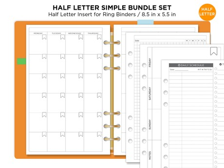 HALF LETTER BUNDLE Planner Set Monthly, Weekly, Daily, Notes Printable Undated Minimalist Functional