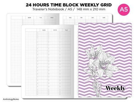 A5 TN 24 Hour TIME Block Weekly VERTICAL Grid Printable Traveler's Notebook Insert