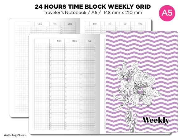 A5 TN 24 Hour TIME Block Weekly VERTICAL Grid Printable Traveler's Notebook Insert