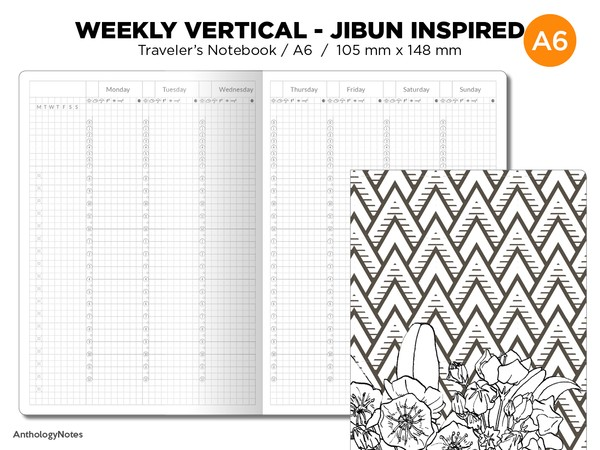 A6 JIBUN Biz Weekly GRID Traveler's Notebook Vertical Japanese Planner Inspired Functional Printable