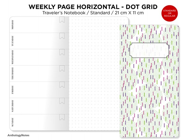 Weekly View Dot Grid Page, Wo1P - Traveler's Notebook Printable Insert Refill PDF - Standard Regular