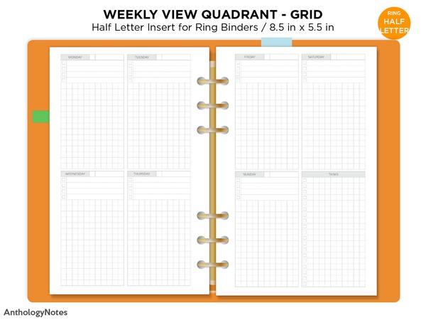 Half Letter Weekly Vertical Quadrant Grid Based Printable Planner Insert Minimalist Functional