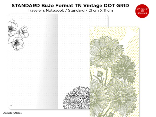 STANDARD Bullet Journal Format Traveler's Notebook Floral Vintage DOT GRID, Bujo Pre-Decorated