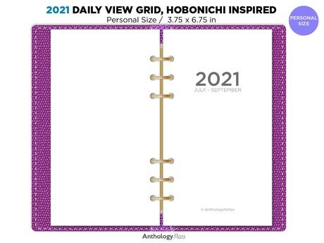 2021 Daily PERSONAL Filofax GRID Hobonichi Inspired Printable Insert Refill Diary BONUS: Q4 2020