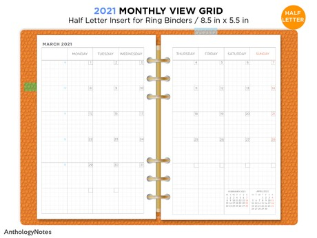 2021 Half Letter Monthly View Ring Filofax Printable Planner GRID Mo2P Bonus: 2020 Version
