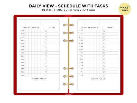 Daily SCHEDULE Filofax Pocket Ring Binder - Printable Refill Planner