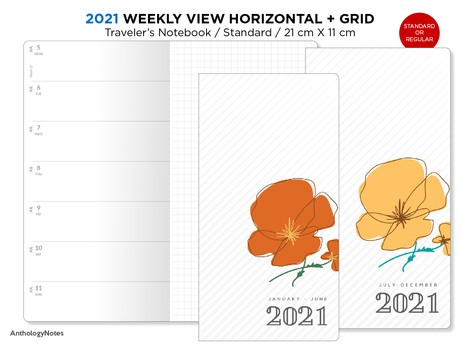 2021 Traveler's Notebook WEEKLY Printable Insert Standard Size Wo1P Horizontal GRID - Bonus:  2020