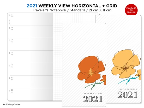 2021 Traveler's Notebook WEEKLY Printable Insert Standard Size Wo1P Horizontal GRID - Bonus:  2020
