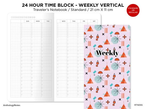 24 Hour TIME BLOCK Weekly VERTICAL Standard Size Printable Traveler's Notebook Insert