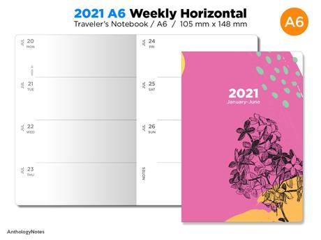 PASSPORT 2021 Diary Traveler's Notebook Printable WEEKLY View Horizontal Wo2P Minimalist Bonus: 2020