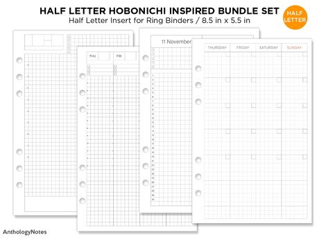 HALF LETTER Filofax Hobonichi Inspired BUNDLE Set Monthly, Weekly, Year at A Glance, Daily Page Mini